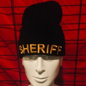 SHERIFF KNIT HAT NEW NEVER USED BLACK NWOT